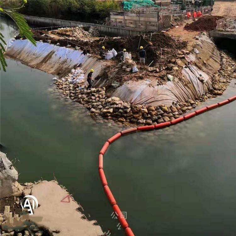 水面垃圾拦草器 挂网浮筒效果见证