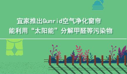 """宜家推出Gunrid空气净化窗帘 能利用""""太阳能""""分解甲醛?#20219;?#26579;物"""