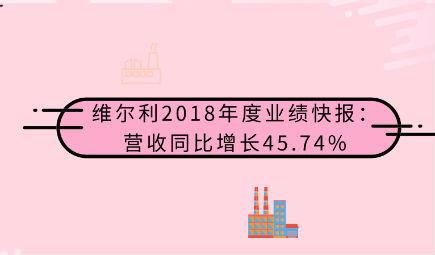 維爾利2018年度業績快報:營收同比增長45.74%,凈利潤同比增長68.61%