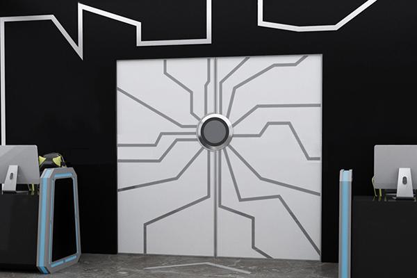 掌纹带灯的门